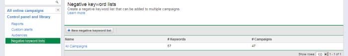 AdWords Negative Keyword List Main Menu