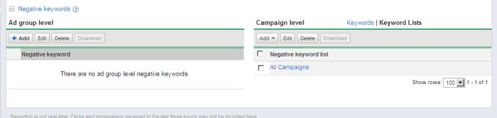 Negative Keyword List Menu Under Keyword Tab in AdWords